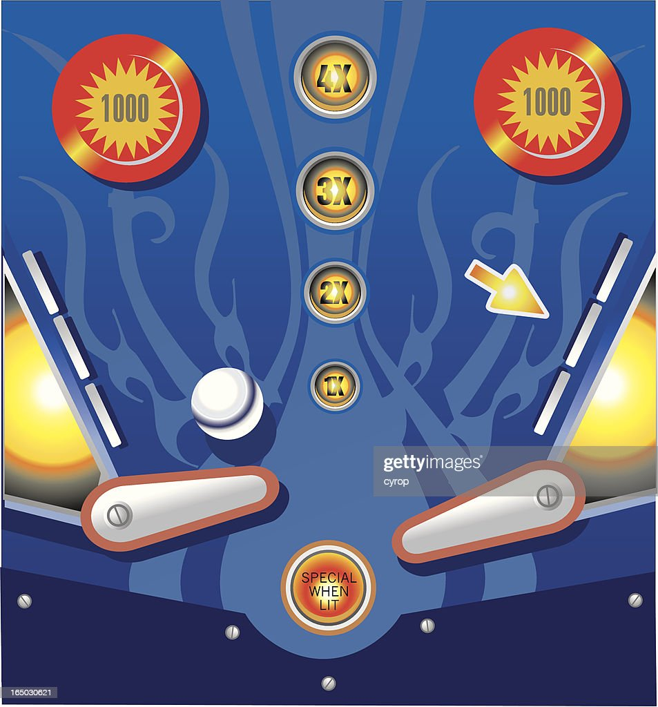 pinball arcade table with bumpers and flippers VECTOR : stock illustration