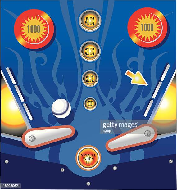 pinball arcade table with bumpers and flippers VECTOR