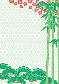 Pine bamboo plum. Auspicious symbols. Japanese style
