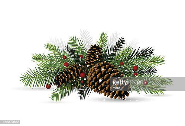 pine cone christmas decoration - pine cone stock illustrations, clip art, cartoons, & icons