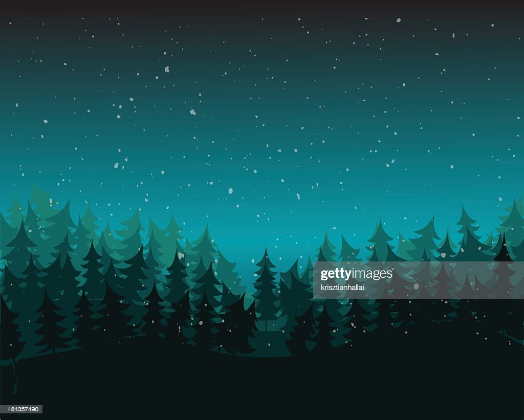 Pine Forest Environment, Vector Illustration.