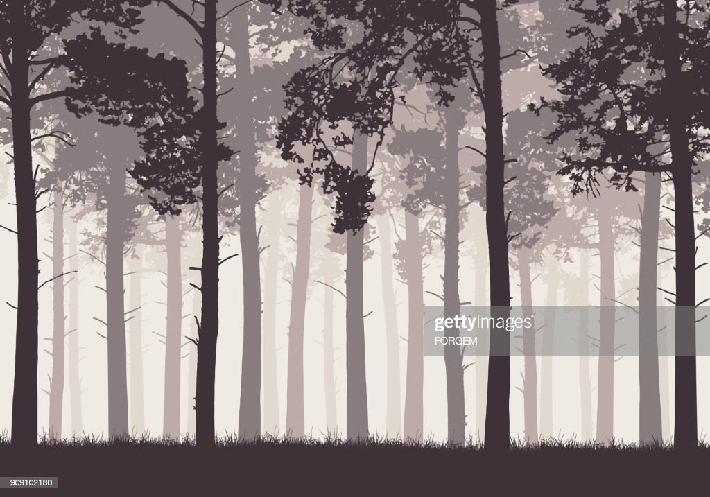 Pine forest with tree trunks and branches in retro colors - vector
