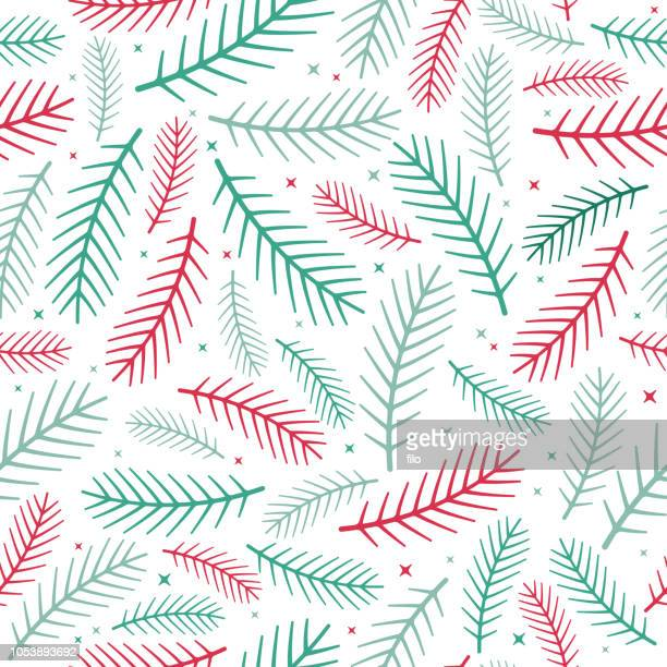 pine seamless holiday background - branch plant part stock illustrations