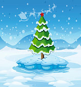 pine tree above an iceberg with red star