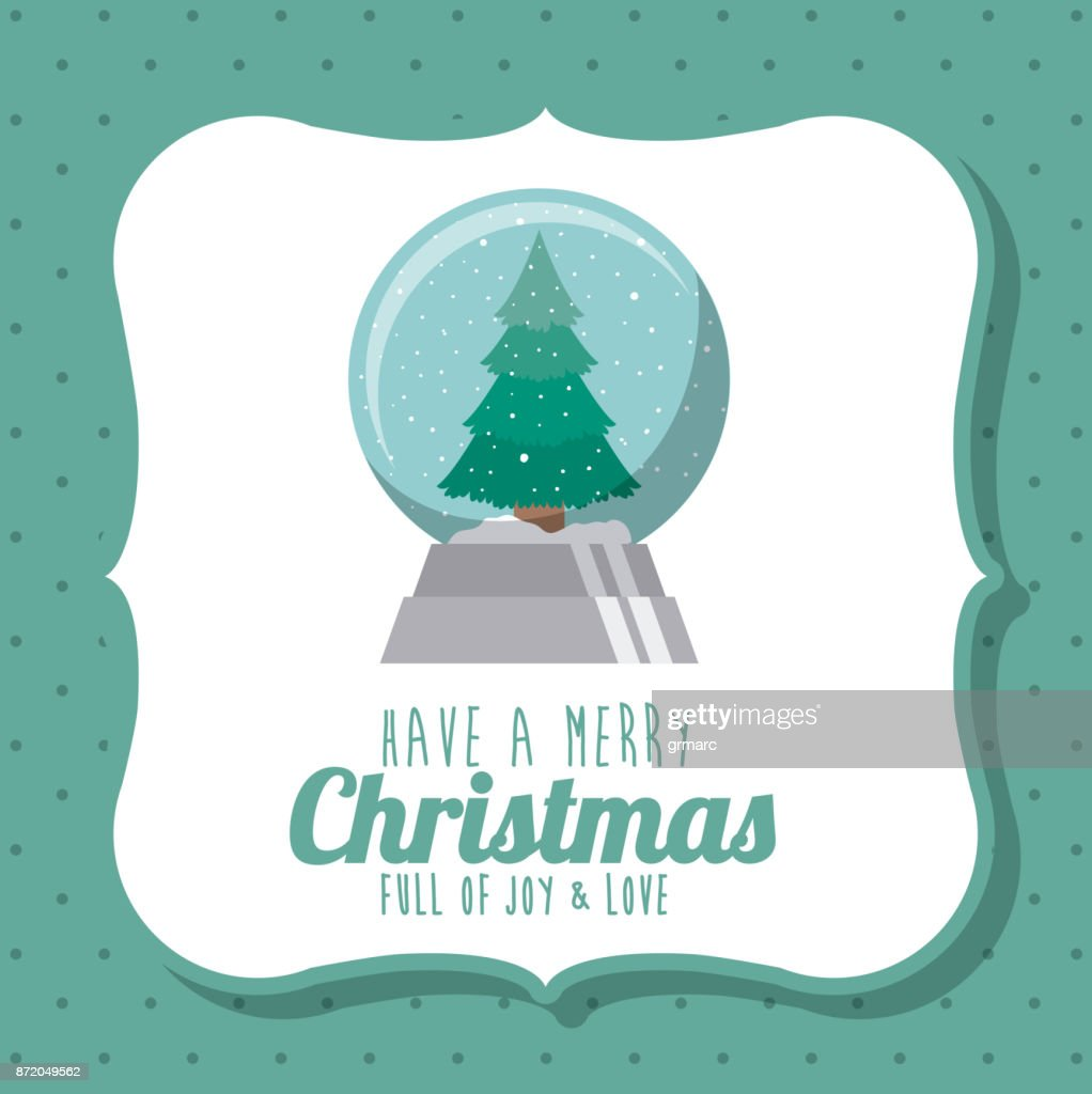 Pine Tree And Sphere Of Merry Christmas Design Vector Art | Getty Images