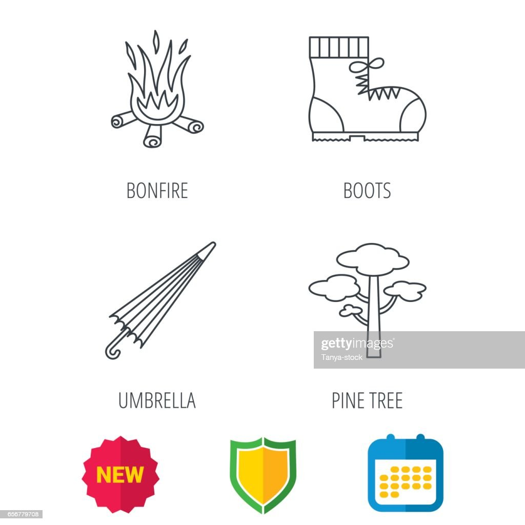 Pine tree, bonfire and hiking boots icons.