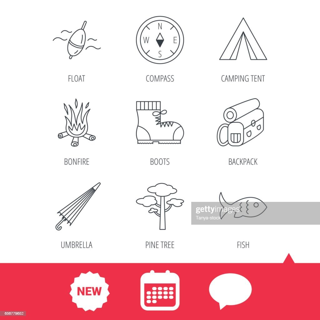 Pine tree, fishing float and hiking boots icons.
