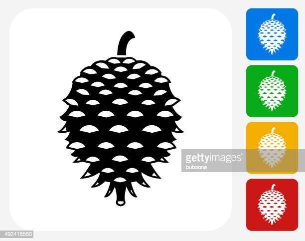 pine tree seed icon flat graphic design - pine cone stock illustrations, clip art, cartoons, & icons