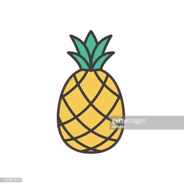 illustrations, cliparts, dessins animés et icônes de icône mignonne de fruit d'ananas - ananas