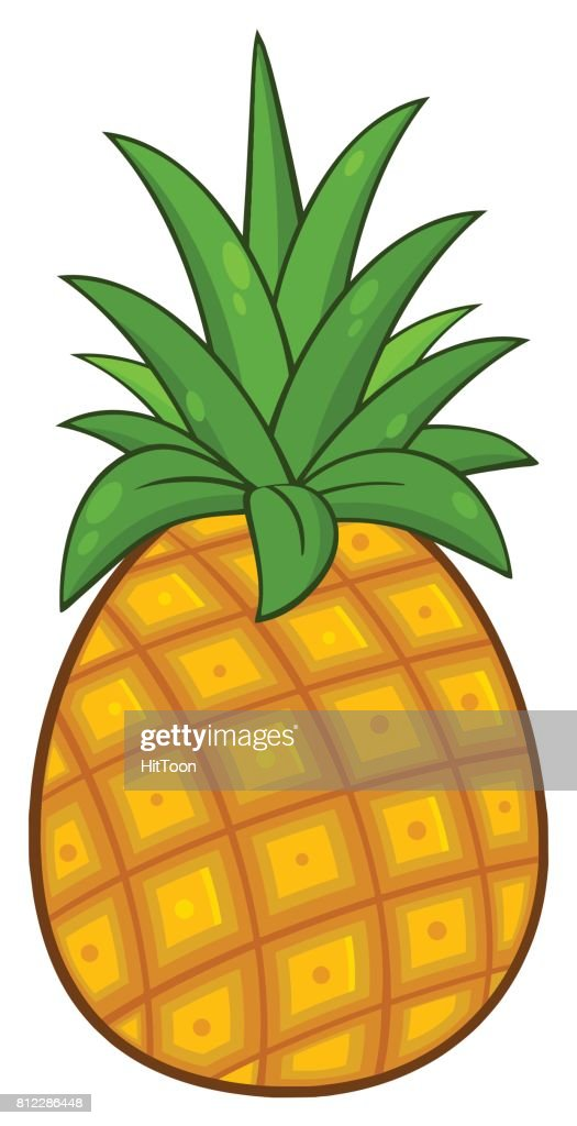 Pineapple Fruit With Green Leafs Cartoon Drawing Simple Design High Res Vector Graphic Getty Images