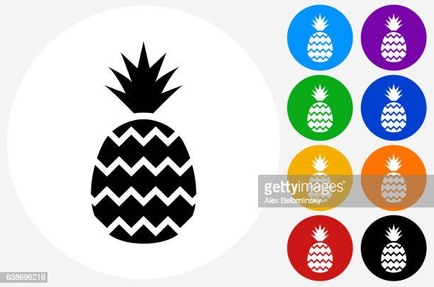 Pineapple Icon on Flat Color Circle Buttons