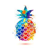 Pineapple icon. Splash paint symbol