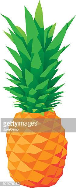 illustrations, cliparts, dessins animés et icônes de ananas low poly - ananas