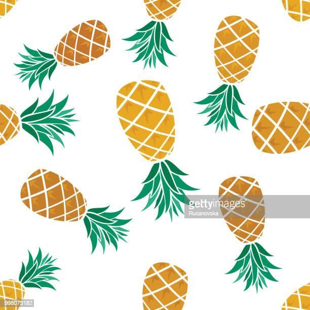 illustrations, cliparts, dessins animés et icônes de ananas motif sans couture. - ananas