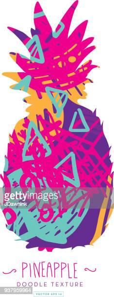 illustrations, cliparts, dessins animés et icônes de silhouette d'ananas avec doodle texture abstraite - ananas