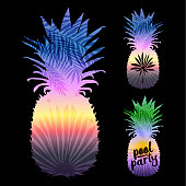 pineapple silhouette with tropical palm leaves on a black background.