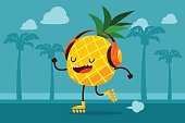 pineapple skating at the beach