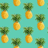 Pineapples Background in Retro Style