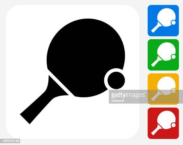 ilustraciones, imágenes clip art, dibujos animados e iconos de stock de ping pong iconos planos de diseño gráfico - tenis de mesa
