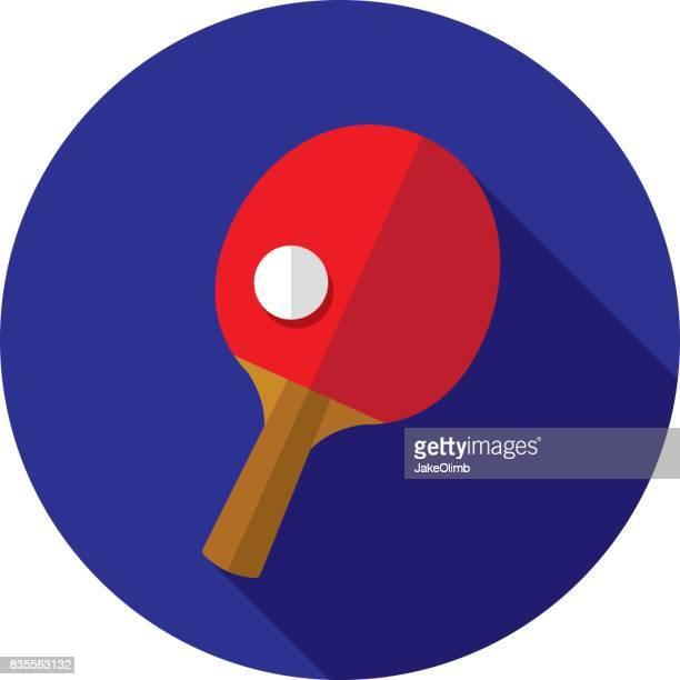 ilustraciones, imágenes clip art, dibujos animados e iconos de stock de ping pong icono plana - tenis de mesa