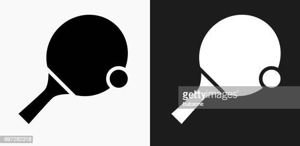 ilustraciones, imágenes clip art, dibujos animados e iconos de stock de ping pong icono en blanco y negro vector fondos - tenis de mesa