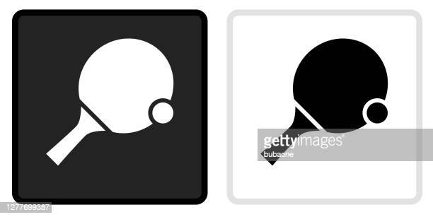 ping pong icon on  black button with white rollover - table tennis stock illustrations