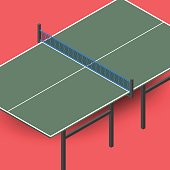 Ping pong table is an isometric, vector illustration.