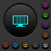 Ping remote computer dark push buttons with color icons