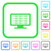 Ping remote computer vivid colored flat icons