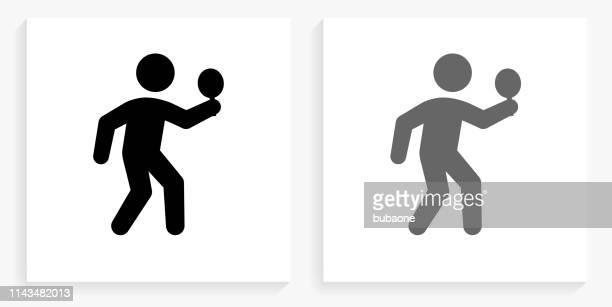 ilustraciones, imágenes clip art, dibujos animados e iconos de stock de el icono cuadrado blanco y negro de ping-pong - tenis de mesa