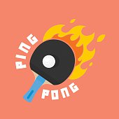 Ping-pong is on fire vector illustration