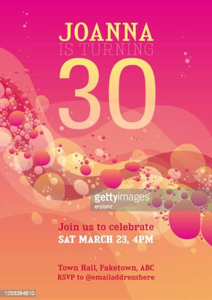 ピンク30歳の誕生日の招待状 - 30歳の誕生日点のイラスト素材/クリップアート素材/マンガ素材/アイコン素材
