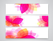 Pink abstract flower banners. Vector illustration