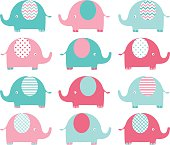 Pink and Aqua Cute Elephant set.