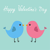 Pink and blue bird couple. Happy Valentines Day. Love Greeting card. Cute cartoon kawaii character. Flat design. Baby background. Isolated.
