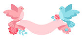 Pink and blue dove holding ribbon with flowers.