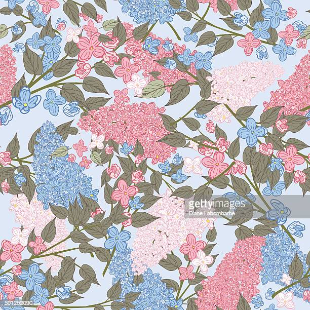 Pink and Blue Lilac Garden Seamless Pattern