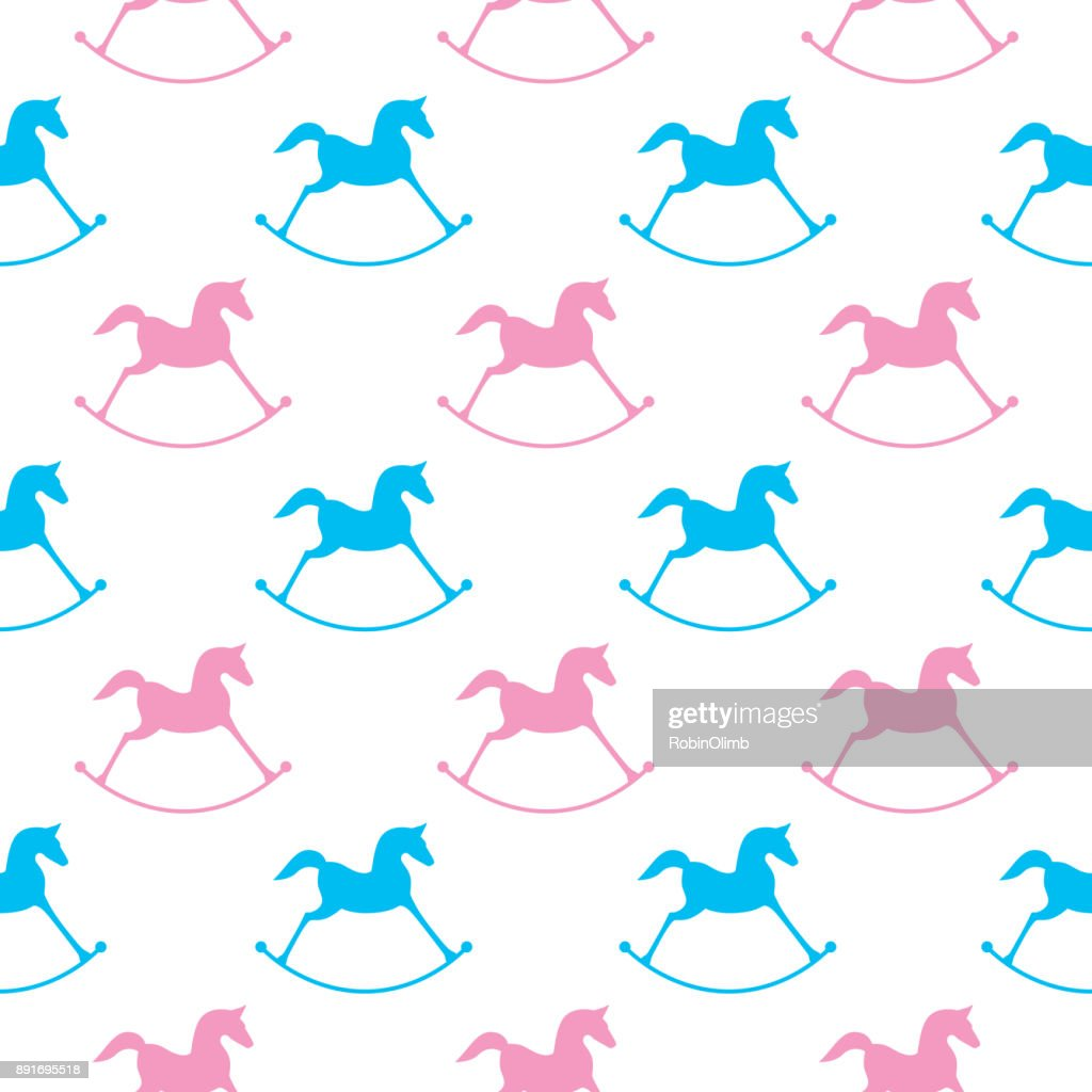 Pink And Blue Rocking Horses Seamless Pattern
