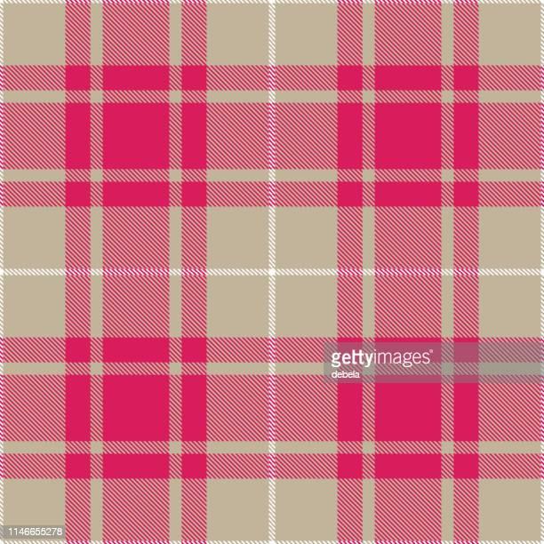 pink and gray scottish tartan plaid textile pattern - scottish tweed stock illustrations, clip art, cartoons, & icons