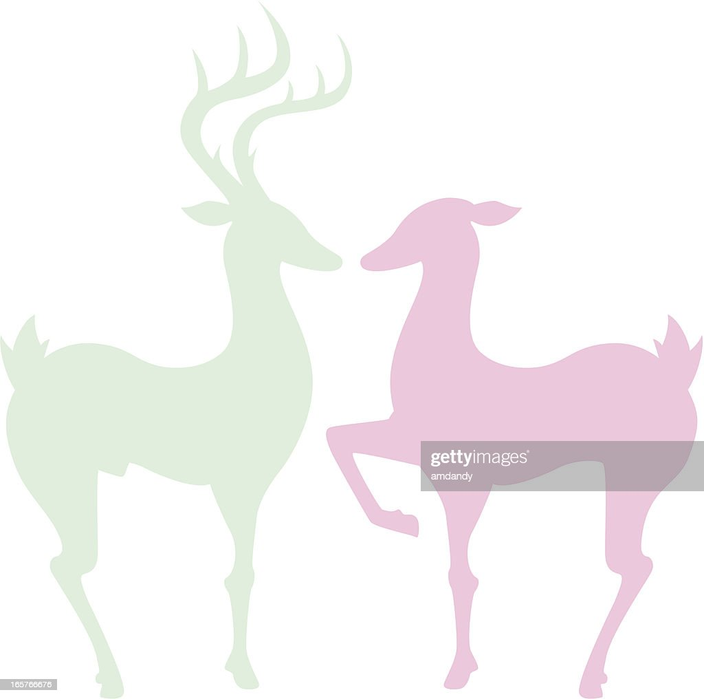 pink and green silhouettes of two deer vector art getty images rh gettyimages ae Deer Silhouette Vector Deer Head Vector
