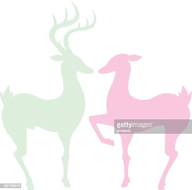 illustrations, cliparts, dessins animés et icônes de couple deer - biche