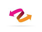 pink and orange arrow