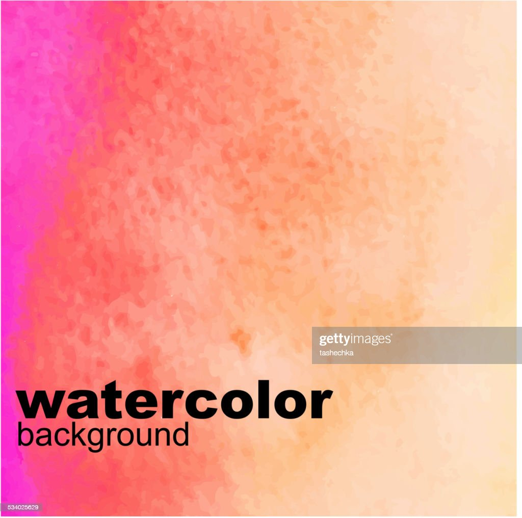 Pink and Orange Wet Watercolor Background