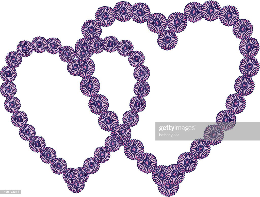 Pink And Purple Round Daisy Flower Heart Frames On White Vector Art ...