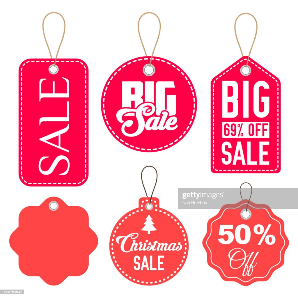 Pink and Red Sale Tags Vector Set Isolated