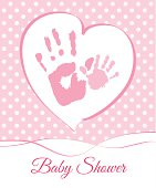 A pink and white baby shower card