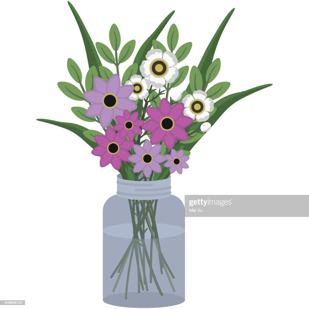 Pink and White Floral Bouquet Illustration