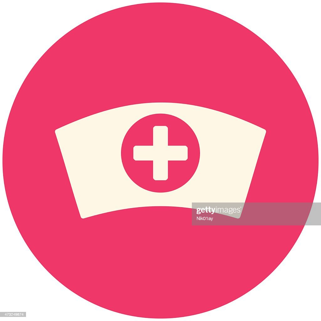 Pink and white round icon representing a nurse cap