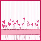 Pink and white striped background with pink heart flowers