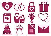 Pink and white wedding set, vector illustration